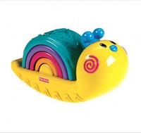 Wholesale Fisher Price Baby Rainbow Snail Stacker Toys Educational Cartoon Christmas Toys