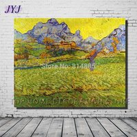 art meadows - A Meadow In The Mountains by Vincent Van Gogh Top Quality Famous Oil Painting Canvas Wall Art GiftTop Home Decoration VG016