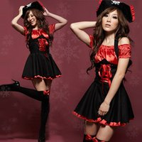 Wholesale Drop Shipping Cheap Sexy Adult Red Pirate Costume For Women Halloween Clothes With Hat Christmas Uniforms Gift