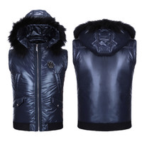 Wholesale Fall Hot Brand Vest Men Skull With Hood Down Jacket Top Quality