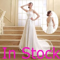 real pearl - In Stock Top Quality Sheer Neck Lace Wedding Dresses Appliques Pearls Beads Sash Chapel Train Backless Royal Bridal Gowns Real Image
