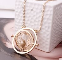 green sand - 300PCS Popular Ladies Couples Necklaces Harry Potter Time Turner Sand Clock Pendants Neckless Party Jewelry Women Birthday Gift K5683