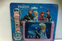 Wholesale Frozen Anna Elsa Sets Watch and Wallet Purse Kids Fashion Quartz Cartoon Candy Cute Lovely Boy Girl Woman Lady Children Watch