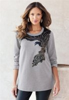 animal print tunic - L XL Novelty Large Size Bird Applique Sweatshirt Jumper Tunic Pullover Plus Size Women Clothing XL XL XL Spring Autumn