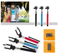 Wholesale 2 in Camera Monopod Extendable selfie stick Handheld Monopod with cellphone holder for iPhone Samsung HTC Digital Camera