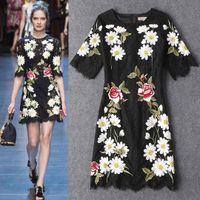 Wholesale Luxury Women Lace Embroidery Sheath Dress Elegant Round Neck Cat Walk Dresses