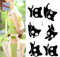 big cat stickers - Temporary tattoos Waterproof tattoo stickers body art Painting for party event decoration black cat big eye