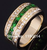 emerald ring - R039YGE Fashion Size to10 Jewelry New men and women Emerald K Yellow Gold Filled Party Ring Gift