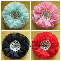 baby trend accessories - quot Colors Ruffed Flower With Pearl Rihnestone Center For Baby Girl Hair Accessories Trend Vintage Chiffon Flower