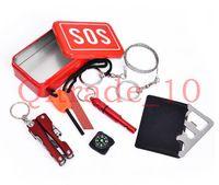 Wholesale 300PCS HHA403 Portable SOS Emergency Survival Kit Outdoor Equipment Self help Aid Box SOS Camping Hiking CM
