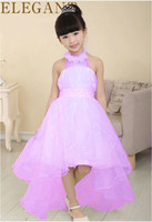 kids prom dresses - 2015 glitz pageant dresses for little girls Halter collar floor length tail years kid prom dresses Lace Flower Girl Dress winter Dres