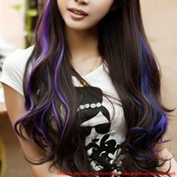 Wholesale One Piece Clip in Hair Extensions Fashion Womens Long Curly Hairpiece easy to clip W058