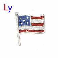 america patriotic - 2015 New hot sale Spring America Flag Floating Charms For Living Lockets MFC791