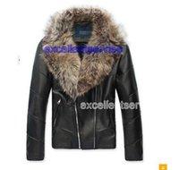 Wholesale winter jacket man leather jacket large fur collar luxury zipper PU men leather jacket mens leather jackets and coats