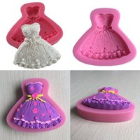 Wholesale New Wedding Dress Fondant Mould Silicone Cupcake Cake Craft Sugar Mold Chocolate Decorating Tools D