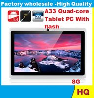 Wholesale tablets android pc inch A33 quad core Android Tablet pc capacitive Q88 dual camera MB GB Projection Tablet PC With flash DHL FREE