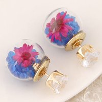 Wholesale European Fashion Personality All Match Ball Beads Crystal Flower Stud Earrings For Women Many Colors New