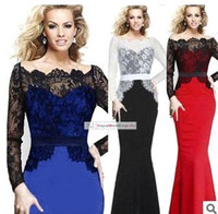Wholesale 2015 New Fashion Lace Evening Prom Dresses Long Sleeves Sheer Neck Mermaid Party Celebrity Runway Gowns Women In Stock OXLQ152