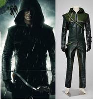 arrow tv s - Super hero cosplay Green Arrow Oliver Queen suit men s full set halloween costumes for adult men cosplay clothing uniforms