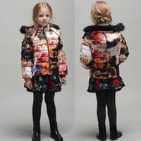 Wholesale New Children Monsoon Down Coat Winter Outwear Girls Down Jackets Print Pattern Hooded Kids Jackets Outerwear Coats Girls Coat