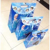 Wholesale Hot Sales Festival Frozen theme Elsa Anna printing plastic hand length handle loot bag shopping Christmas gift bags Size Styles