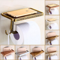 Wholesale High end Roll Paper Tissue Holder Brass Rack Mobile Phone Rack Bathroom Toilet Paper Wall Mount