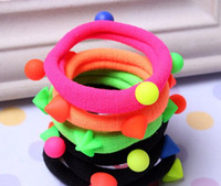 Wholesale Pearl rivets Fluorescent Color Hair Band Rubber Bands With Taper Neon Hair Accessories Headwear Seamless Hair Ropes Ring for Women Girls