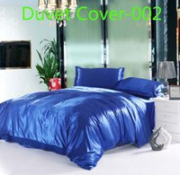 Wholesale Silk Quilt Comforter Black - Blue black red Satin Imitate Silk 1pcs Duvet Cover Quilt Cover Twin Full Queen King size Bed Comforter Cover Bedding Bedclothes Bedding bag