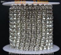 Wholesale ss10 mm yard crystal strass chain rhinestones silver base stones cup chain dense row rhinestone trim chain ZlMzSCr