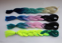 Wholesale Folded length quot Black dull green grams Ombre Two Tone three tone Colored Kanekalon Jumbo Braiding Hair color Can choose