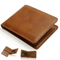 Wholesale 50 Hot Mens genuine leather wallet Short style open clutch purse casual wallet m090