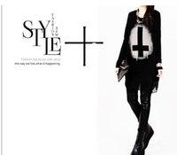 Cheap HOT Punk Women Loose Blouse Cotton+Chiffon Tees Black T-shirts Tops Vintage Cross Printed Long Sleeve Clothing Shirts