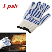 Wholesale 1 pair of Universal Kitchen Microwave Oven Gloves Heat Proof Resistant Degree Cooking Tools for Right Left Hand Protective