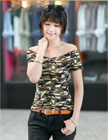 Women Slash Neck Regular Hot selling womens t shirts Summer New fashion casual short sleeves camouflage printing summer style womans clothing
