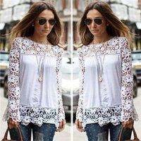 designer shirts - Spring Autumn Women s White Blouses Cotton Blend Designer Ladies Shirts Long Sleeve Hollow Floral Vintage Women s Clothing for AB024