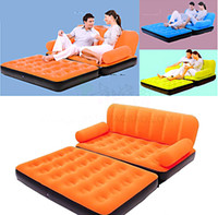 leather furniture - Outdoor Multi function Color Flocking Double Fold Inflatable Sofa Bed Living Room Furniture Recliner Leather Sofa Set China Mainland
