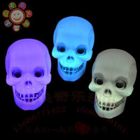 Wholesale The LED electronic terrorist colorful pumpkin lamp Halloween activities props skull Nightlight color candles H2165