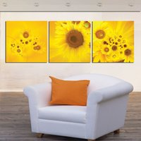 Cheap New 3 Piece Modern Wall Oil Painting Abstract Large yellow sunflower Wall Art Picture Paint on Canvas Prints for home decorat