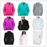 Wholesale 2015 Women s Fleece Zipper Jackets Fashion outdoor pink ribbon windproof black white jacket outwear