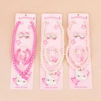 Bracelet,Earrings & Necklace baby pearl earrings - 10sets Plastic Pearl Baby Cpw Jewelry Cheap Child Girl Kids Jewellery Sets Hello Kitty Bead Necklace Bracelet Ring Sets Earring