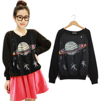 Wholesale Women sweatshirt Crewneck Long Sleeve Tops Harajuku Saturn Astros Cartoon Raglan Blouse Hot
