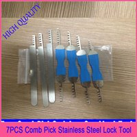 auto supply house - 7pcs Comb Pick Stainless Steel Lock Tool Locksmith Tool for House Lock professional locksmith supplies hot sale