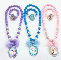 Wholesale 2pcs Sets Frozen Princess Necklace Bracelet Elsa Anna Cute Kids Cartoon Party Jewelry Fashionable Children s Jewelry