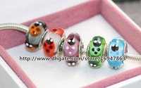 Cheap 5pcs lot 925 Sterling Silver Flowers Murano Glass Beads Fit European Style Pandora Charm Jewelry Bracelets & Necklaces