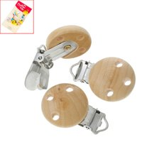 Wholesale 10PCs Baby Pacifier Clips Holder Natural Color Wooden Round For Baby cm x2 cm Funny Pacifier