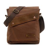 Wholesale Unisex Vintage Colonial Canvas Genuine Leather Messenger Shoulder iPad Bags School Sport Bag Bookbag for Men Women