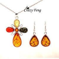 amber jewelry - Vintage Retro Women s k Platinum Plated Flower Amber Wedding Jewelry Sets Chain Necklace Earrings sets Gifts