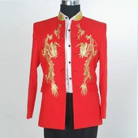 Wholesale Chinese Tunics Costume - Real Sample Golden Embroidered Collar long sleeves Red Jacker and Black Male formal dress costume chinese tunic suit clothes (Jacket+Pants)