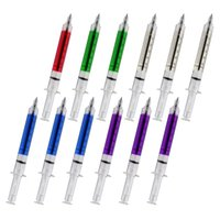 Wholesale 12 set Injector Syringe Shape Ballpoint Pens Shot Ink Pens