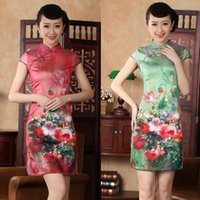 asian qipao - Chinese clothing Asian short Printing clothes silk like dress qipao gown